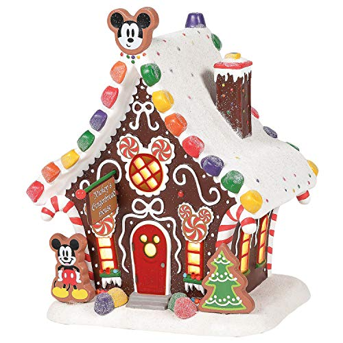 Department 56 Disney Village Mickey Mouse Gingerbread House Lit Building, 1.75 Inch, Multicolor