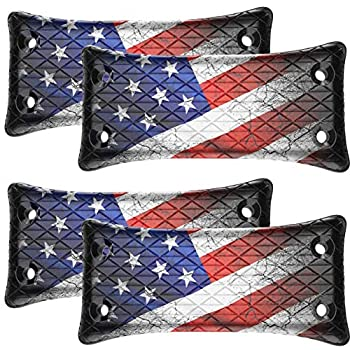 4-Pack Gun Magnet Mount  U.S Flag Holder 50lbs Rated w/ HQ Rubber Coated Fits Handguns,Airguns,Rifle and Pistol Concealed car Gun Holster for Vehicle and Indoor Car,Wall,Bedside and Office