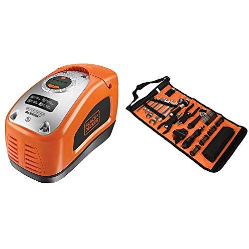 Black+Decker Kompressor, 11 bar / 160PSI, Luftpumpe + Rolltasche (mit Autowerkzeugzubehör, Taschenlampe, Schrauberklingen, Bits, Handwerkzeuge)