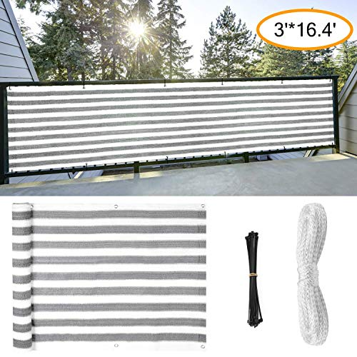 GOOVI Fence Privacy Screen, 3ft x16ft Mesh Fence Windscreen for Porch Deck, Outdoor, Backyard, Patio, Balcony to Cover Sun Shade, UV-Proof, Weather-Resistant (Gray-White)