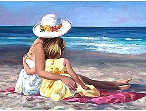 Iyyuor DIY 5D diamantmålningssatser gör-det-själv diamantmålning efter nummer startpaket för vuxna och barn strand mamma och dotter hem väggdekoration 40 x 50 cm (förtryckt duk utan ram)