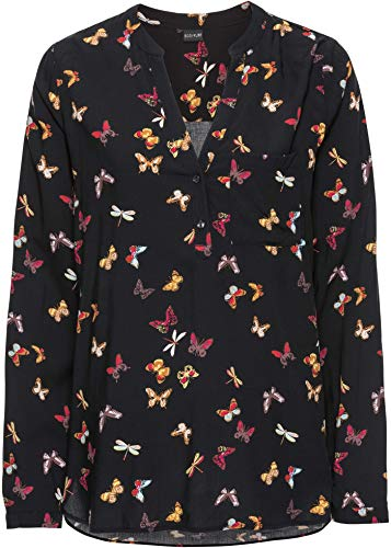 bonprix Langärmlige Bluse mit Allover-Druck und Knöpfen schwarz Schmetterlinge 48 für Damen
