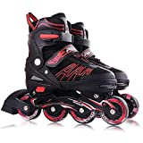 LFFMYY Patins À roulettes,Roller Skating Inline Speed Skates Shoes, Straight Line Roller Skating, Sneakers Rollers for Youth Adult Adult Women'S College Student Beginner,Red,M,33,36