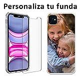 Mookase Funda Carcasa Personalizada para iPhone 11 con tu Foto, Dibujo o Texto (001 - iPhone 11, Gel + Cristal)