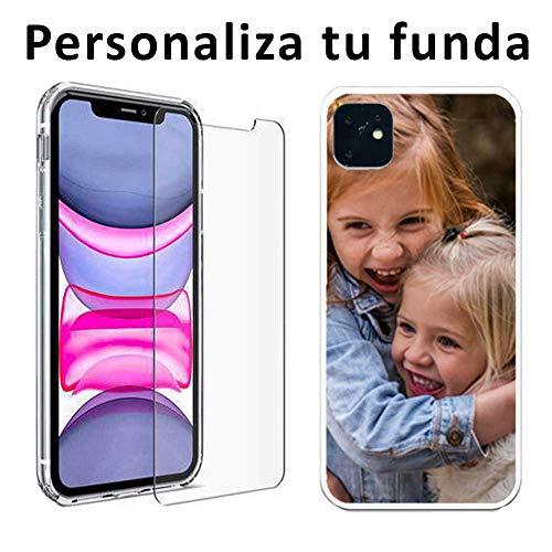 Mookase Funda Carcasa Personalizada para iPhone 11 con tu Foto, Dibujo o Texto (Básica + Cristal)