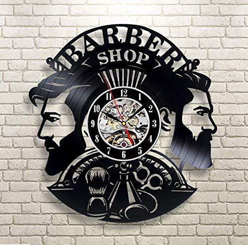 Knncch Friseur Wanduhr Modernes Design Barbershop Schallplatte Uhren Friseur Wanduhr Wand-Dekor Für Friseur Salon 3PCS
