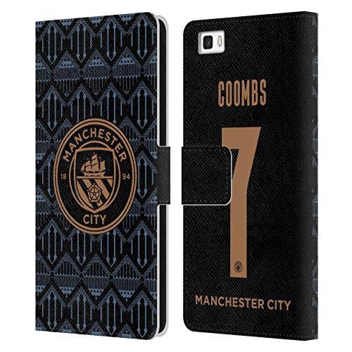 Head Case Designs Licenciado Oficialmente Manchester City Man City FC Laura Coombs 2020/21 Mujer Lejos Kit Grupo 2 Carcasa de Cuero Tipo Libro Compatible con Huawei P8lite / ALE-L21