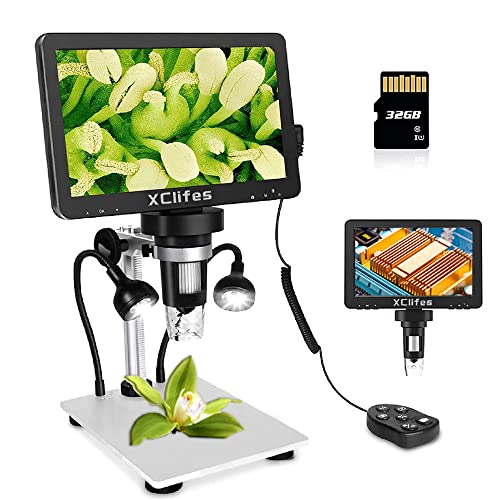 XClifes LCD Digital USB Microscope 7 in HD Screen 32 G TF Card, Circuit Board Repair Soldering PCB Coins,12mp Video Camera Microscope, 1-1200X Magnification with Rechargeable Battery。