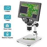 CARYWON Microscopio Digital HD de 7 Pulgadas 1200X ángulo Ajustable con 8 Resalte Regulables Luz Micro SD de Almacenamiento de Cámara del Teléfono Móvil de Reparación LED
