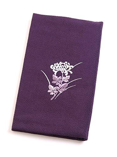 刺繍念珠入付ふくさ 慶弔両用袱紗 結婚式 冠婚葬祭 男性用 女性用 日本製 紙箱入 (菊紫)