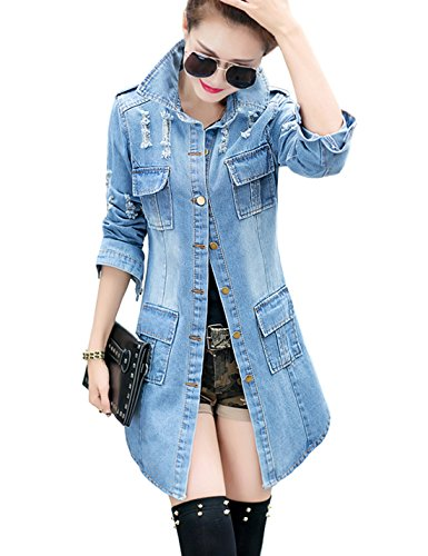 Tanming Women's Casual Lapel Slim Long Sleeve Denim Outercoat Jacket Windbreaker (XX-Large, Blue)