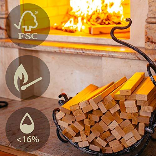 Brennholz mit Kaminanzünder aus FSC Birke - Supertrockenes und Sauberes Feuerholz mit Anzünder für Kamin Grill Ofen BBQ - Kein Anzündholz Anzündwolle Anfeuerholz braucht