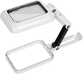 Yorten Handheld Magnifier Lighted Magnifying Glass Lens Square Magnifier Foldable Tabletop Freestanding Magnifier with War...