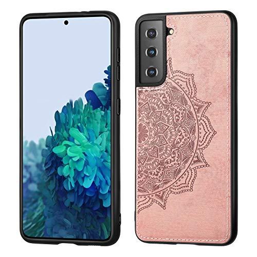 Happy-L Funda para Samsung Galaxy S21, funda protectora de piel con tela de mandala, ultra delgada para Samsung Galaxy S21 (color oro rosa)
