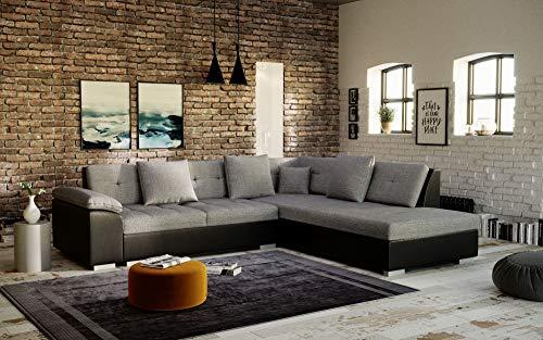Canapé d'angle Noir Tissu Moderne