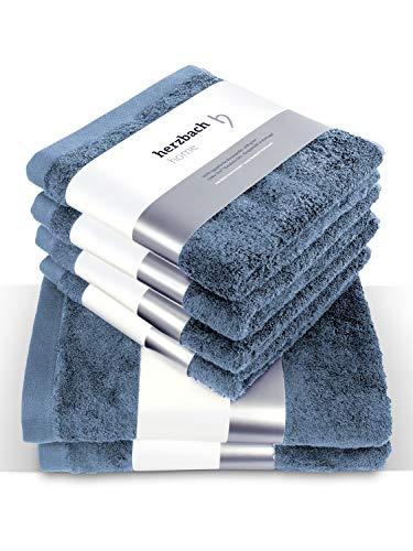 herzbach home Luxus Handtuch Set Premium Qualität aus 100% Baumwolle 4 Handtücher 50x100 cm 2 Duschtücher 70 x 140 cm (Blau (Graublau))
