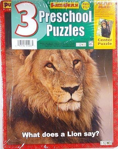3 Preschool Puzzles  Elephant, Lion & Monkey - 9 x 11.5 by Puzzle Patch