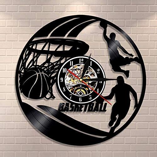 YDDLIE Baloncesto Reloj de Pared Jugador de Baloncesto Silueta Colgante de Pared Arte Disco de Vinilo Reloj de Pared Baloncesto decoración del hogar Regalos Deportivos