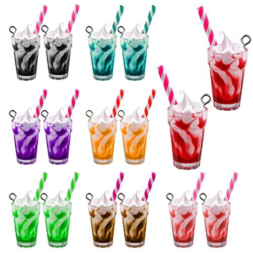 LUTER 16 Pzs Multicolor Encantos de Helado Colgantes de Té con Leche para Hacer Llaveros, Pulseras, Collares, Pendientes, Manualidades