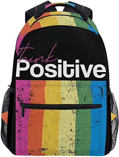 Regenbogen mit Zitat Denken Positive stilvolle große Rucksack personalisierte Laptop Tablet Reisen Schultasche mit Mehreren Taschen