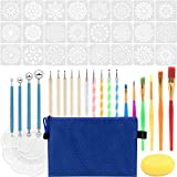 Value Package: 47 Pcs mandala dotting tools, including 24 mandala stencil patterns, 10 double-sided dotting tools (acrylic colorful handle (5pcs) and wooden handle (5pcs), 6 paintbrushes, 4 blue ball stylus, 1 paint tray, 1 sponge and 1 blue storage ...
