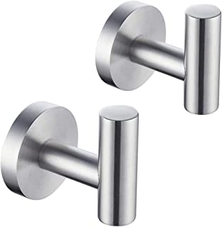 KLXHOME Bathroom Coat Hook SUS 304 Stainless Steel Towel/Robe Clothes Hook for Bath Kitchen Garage Heavy Duty Wall Mounted...