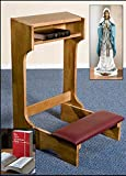 Pecan Stain Padded Kneeler with Madonna Rosary Holder & Bible