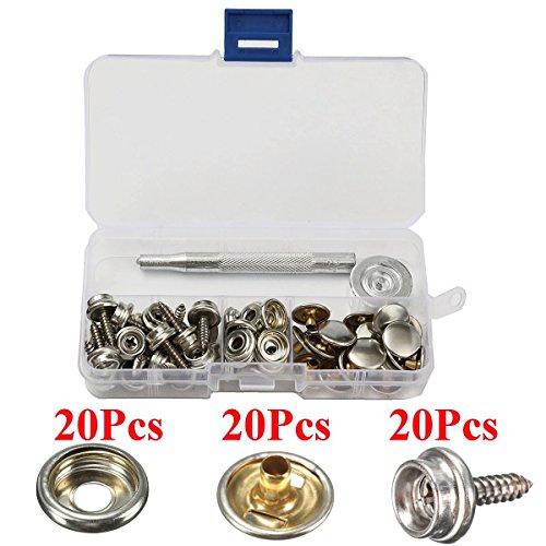 20 Sets 15mm 5/8 Metalen Snap Fastener Lederen Rapid klinknagel Knop Naaien met Punch Set Tool in Opbergdoos
