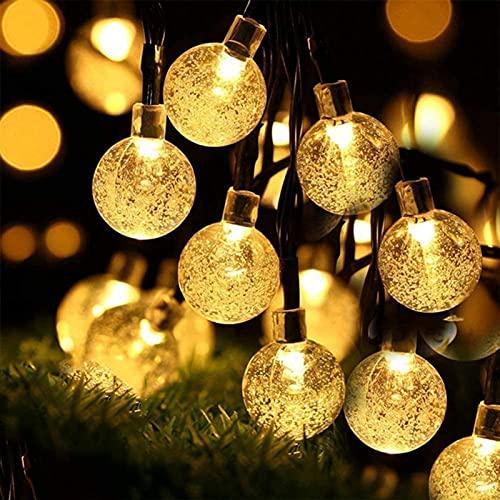 Guirnaldas Luminosas De Exterior, 12M Cadena De Luces LED con 100 Bombillas, Blanco Cálido, Iluminación Interior Exterior para Jardín, Terraza, Cafe, Impermeable