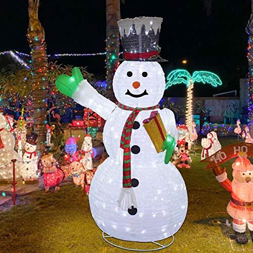 Lulu Home Christmas Collapsible Snowman Decoration, 6 Ft 200 LED Christmas Lighted Snowman Ornaments with Clear Lights, Plug-in Christmas Light Up Snowman with Hat Indoor Outdoor Yard Holiday Decor