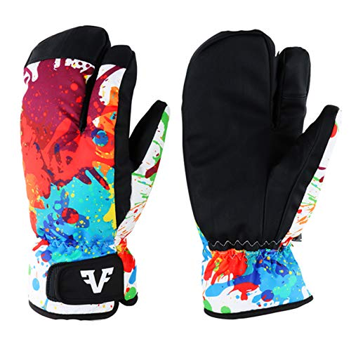 Owntop Men Women Winter Ski & Snow Gloves - Thermal Ski Gloves Waterproof Windproof Warm Insulated 3-Finger Mittens with Build-in Gloves S