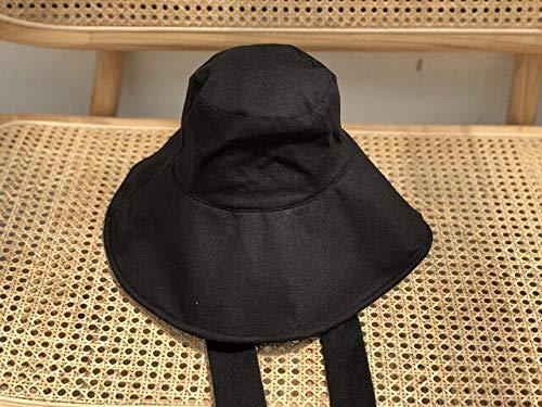 Nueva Primavera Verano Cúpula Redonda Vendaje Arco Grande Temperamento Plegable Sombrero de Pescador Moda Mujer Marea Todo Fósforo-Black