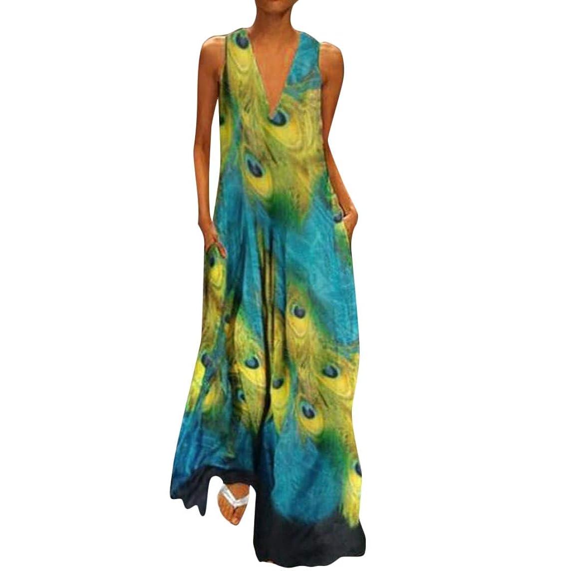 HAALIFE??Women Chiffon Dress Plus Size Stylish Chiffon v-Neck Boho Maxi Prom Dress Floral Printed Sleeveless Tank Dress