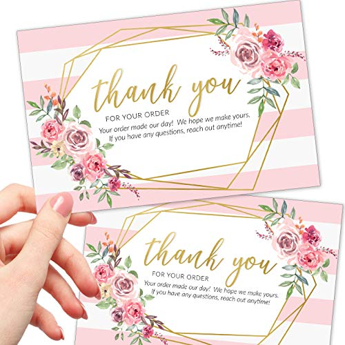 50 Large 4x6 Thank You For Your Order Cards - Faux Gold and Pink Bulk Postcards Purchase Inserts to Support Small Business - for Online or Retail Stores, Package Inserts and More