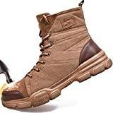 SUADEX Steel Toe Boots for Men Military Work Boots Indestructible Work Shoes for Women Athletic Safety Shoes Composite Toe Brown