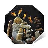 TISAGUER Paraguas automático de Apertura/Cierre,Peces Acuario Rocas Fondo Negro,Paraguas pequeño Plegable a Prueba de Viento