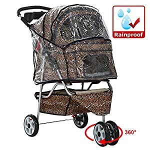 All Terrain Extra Wide Leopard Skin 3 Wheels Pet Dog Cat Stroller w/RainCover