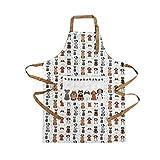 Küchenschürze für Frauen Damen Hundemotiv Kochschürze Baumwolle mit Taschen zum Kochen, Hund Geschenk für Hundeliebhaber - 5