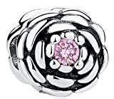 SaySure - 925 Sterling Silver SALMON BLOOMING ROSE Charm -