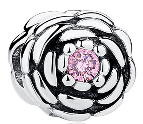 SaySure - 925 Sterling Silver SALMON BLOOMING ROSE Charm