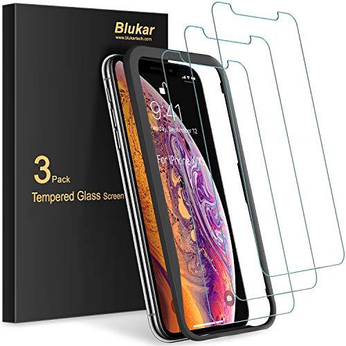 Blukar Panzerglas für iPhone XS und iPhone X mit Positionierhilfe, 9H-Härte, Anti-Bläschen, Anti-Kratzen, 3 Stück