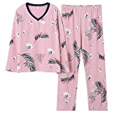 Talla Grande 5XL Sleep Lounge Pijama Top de Manga Larga + pantalón Largo Conjunto de Pijama de Mujer Pijamas con Estampado de Dibujos Animados Ropa de Dormir de algodón para Mujeres