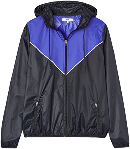 Activewear Giacca a Vento con Cappuccio Uomo, Schwarz (Black/Cobalt Blue), Large
