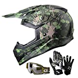GLX Unisex-Child GX623 DOT Kids Youth ATV Off-Road Dirt Bike Motocross Helmet Gear Combo Gloves Goggles for Boys & Girls (Camouflage, X-Large)