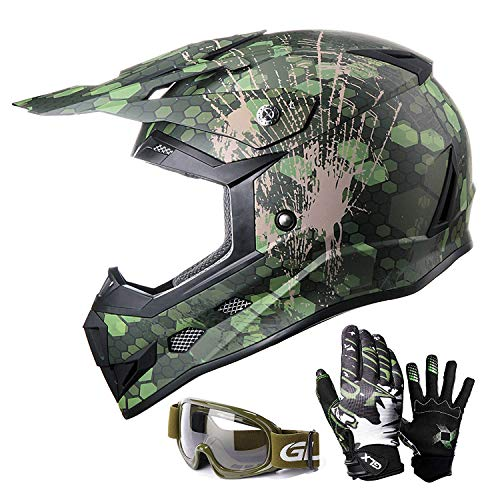 GLX Unisex-Child GX623 DOT Kids Youth ATV Off-Road Dirt Bike Motocross Helmet Gear Combo Gloves Goggles for Boys & Girls (Camouflage, X-Large)