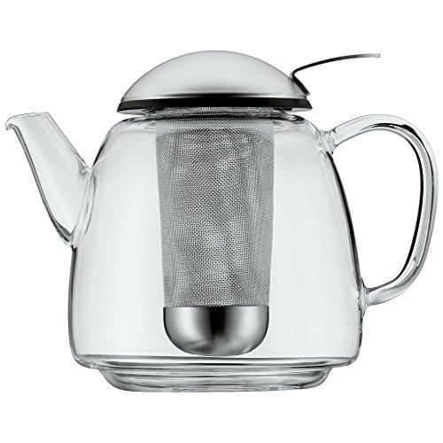 WMF SmarTea Teekanne mit Siebeinsatz, Cromargan Edelstahl mattiert, Glaskanne 1,0l, für Heiß- und Kaltgetränke, spülmaschinengeeignet