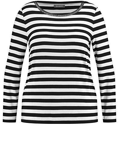 Samoon Damen Ringel-Shirt mit Ziersteinen leger, Gerade Black/Offwhite Ringel 42