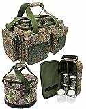 G8DS Angel-Camo-Set: G8DS Reistasche' Carryall Experience' in Camouflage + faltbare G8DS Futtertasche mit Isolierung in Camo + G8DS Glug Tasche Karpfenangeln Ausrüstung Angeln Schiff Meer