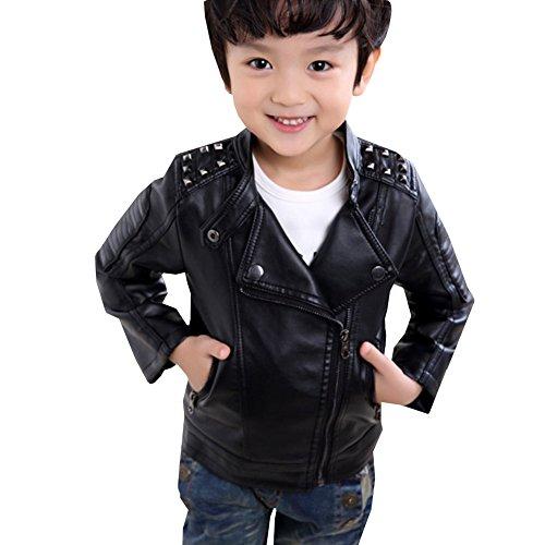 LSERVER Mode Jacke Junge PU Lederjacke Kinder Mantel Outwear mit Flaum,128