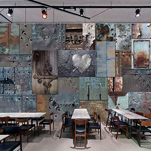 Lllyzz aangepaste zijden doek waterdicht canvas muurschildering behang retro roestig ijzer restaurant bar kTV fotobehang 3D Fresken-120X100Cm